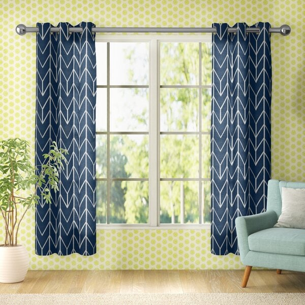 Blue Chevron Curtains With Bright Yellow Patterned Walls