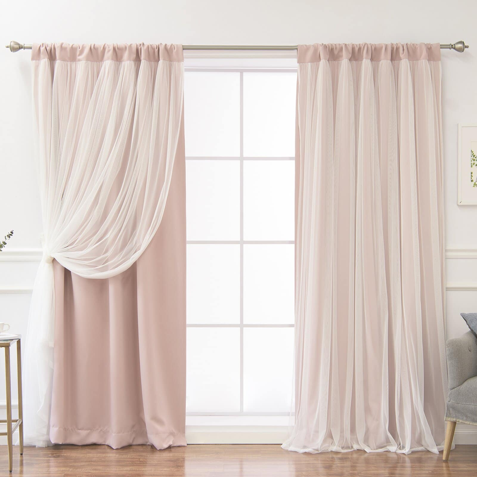 Dusty Pink and Tulle Curtains With White Walls