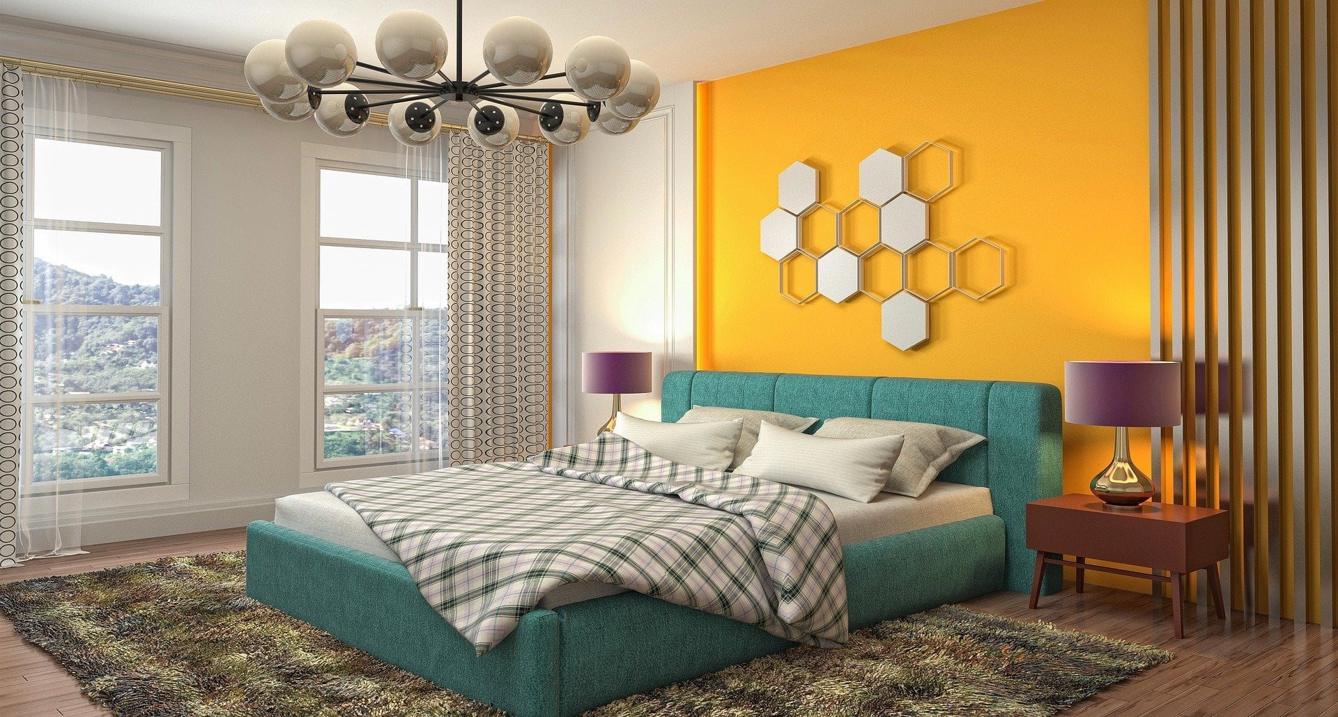 Black and White Patterned Curtains With Bright Yellow Walls