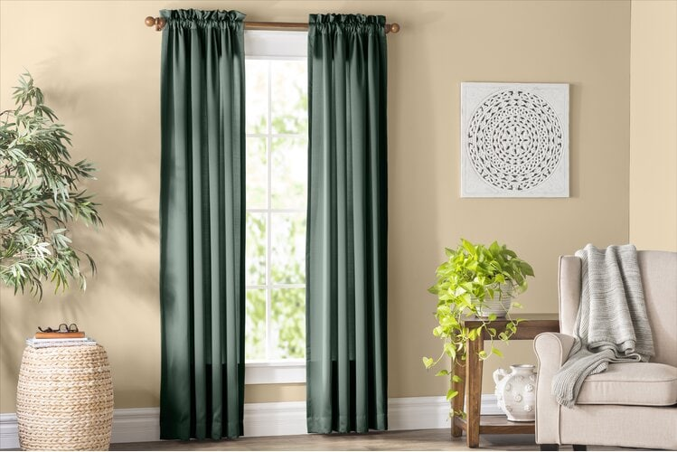 Dark Green Curtains With Yellow Walls
