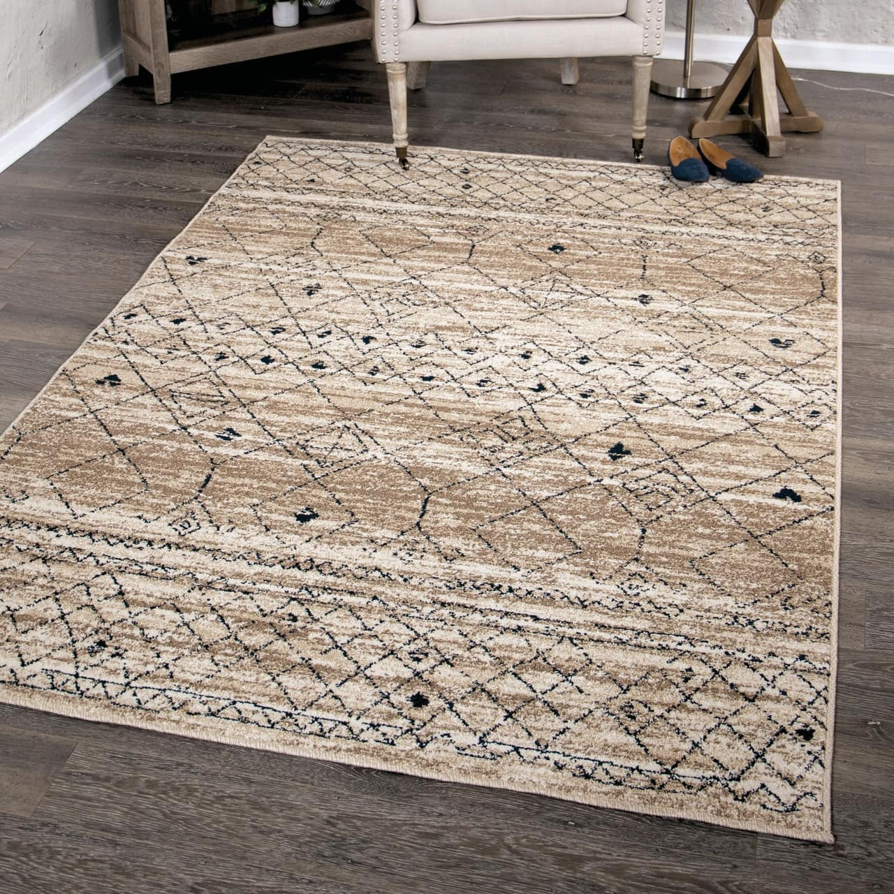Farmhouse Gabbeh Field Beige Area Rug
