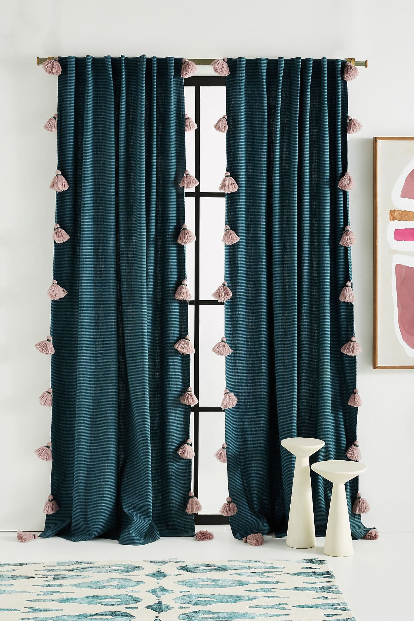 Navy Blue Curtains With Pink Tassels