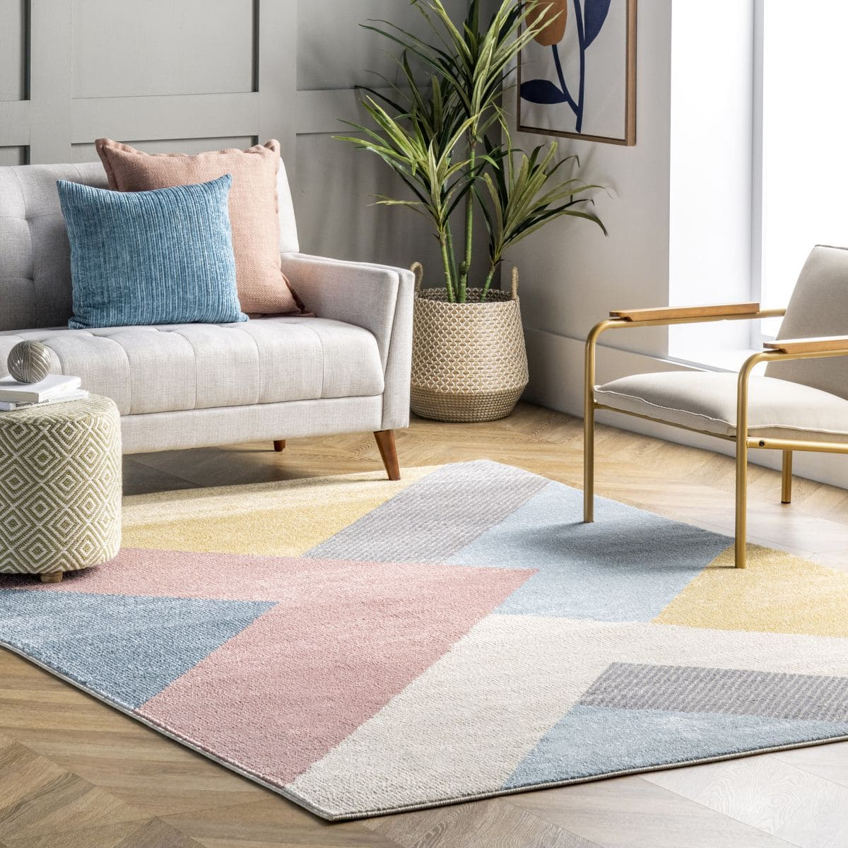 Pink Modern Abstract Area Rug