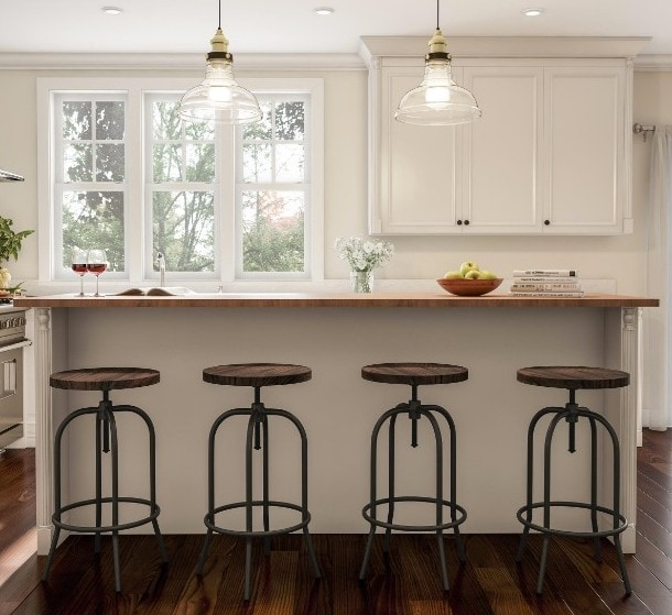 Create a Breakfast Bar With Rustic Bar Stools