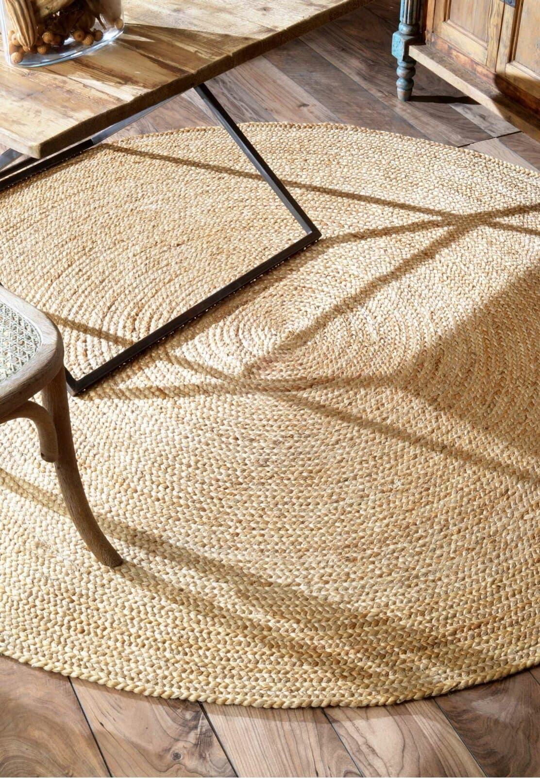 Hand Braided Jute and Sisal Round Area Rug