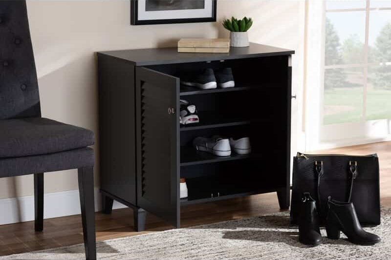 Modern and Contemporary 12 Pair Shoe Storage Cabinet