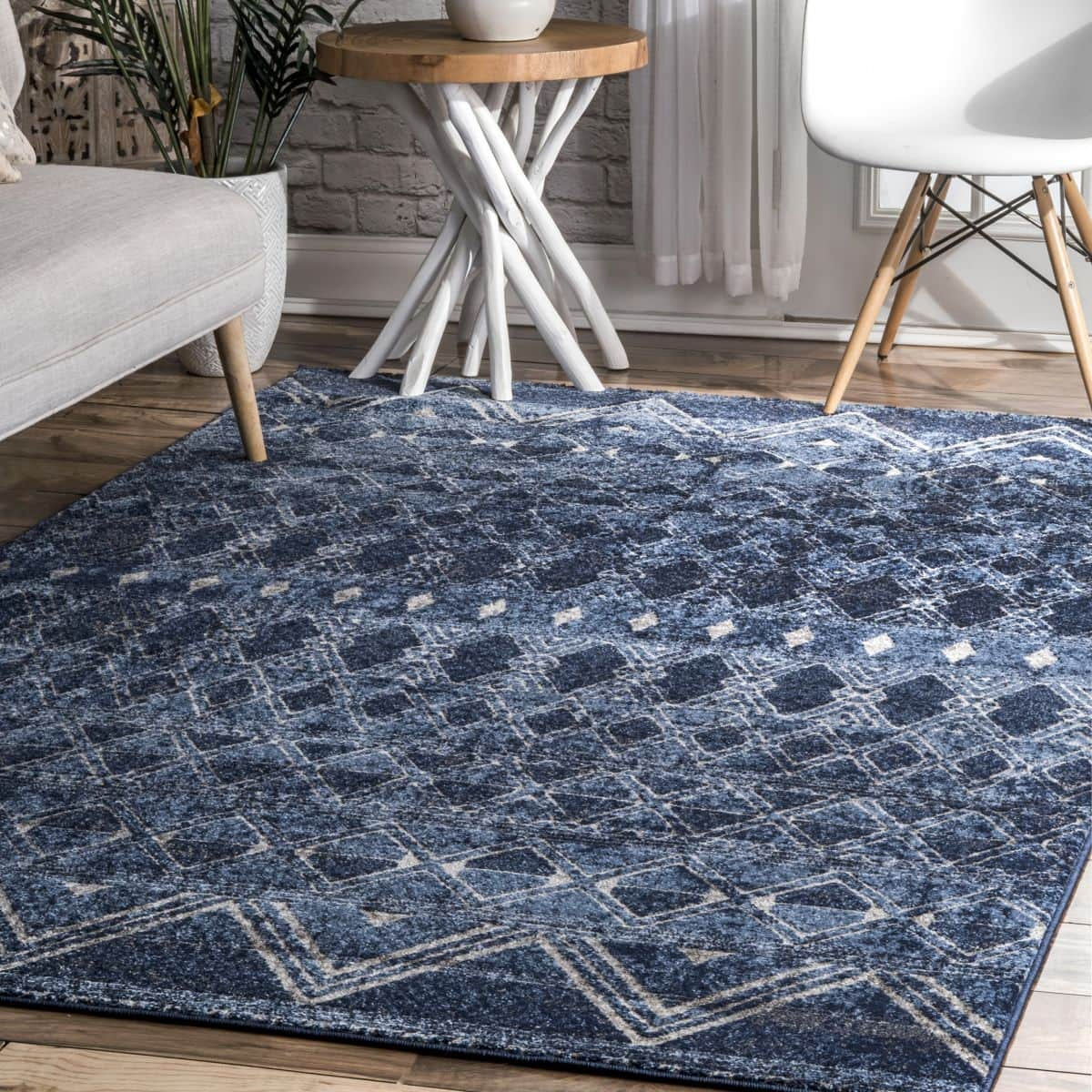 Navy Banded Tribal Area Rug