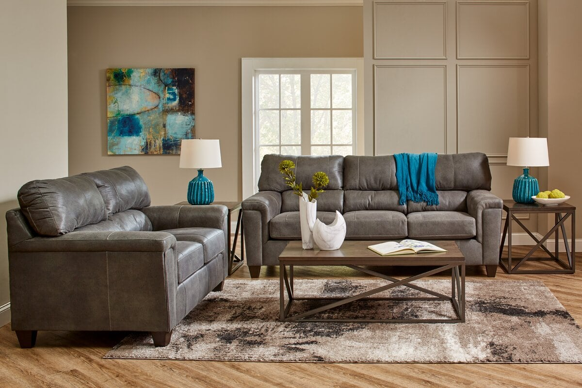 Traditional Teal And Grey Living Room