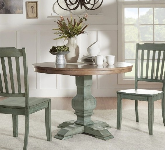 Eleanor Two-Tone Round Solid Wood Top Dining Table