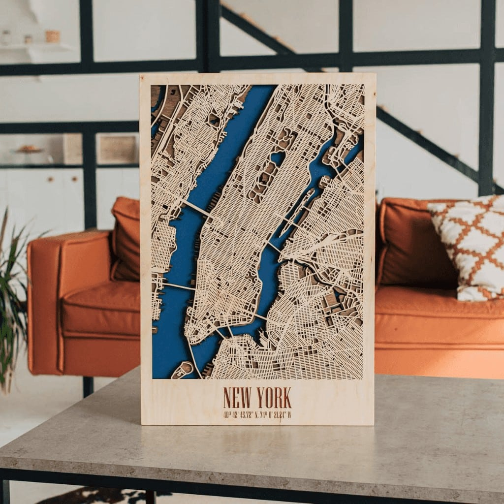 New York 3D Wooden City Map
