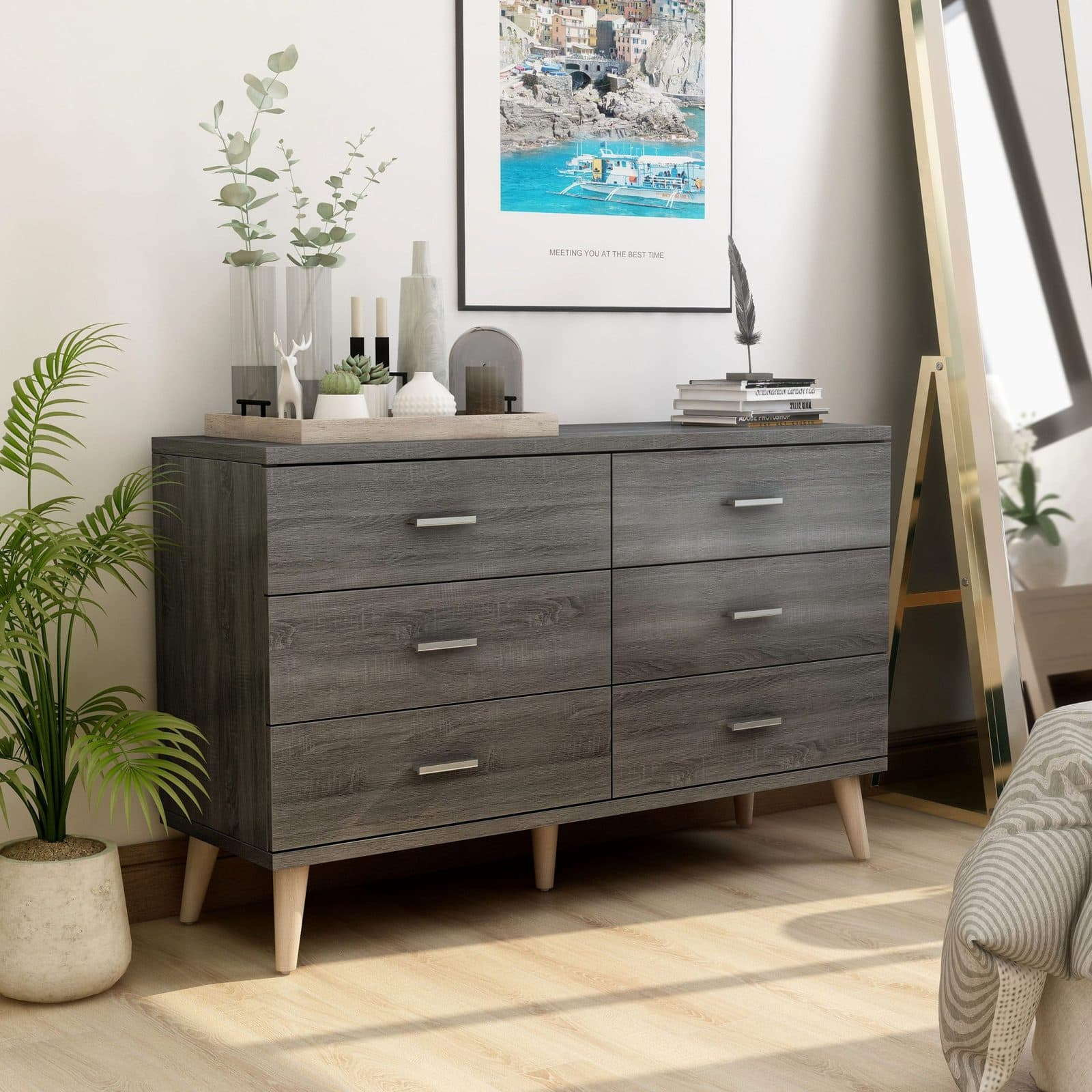 Gjovik Mid-Century Distressed Grey 6-drawer Dresser