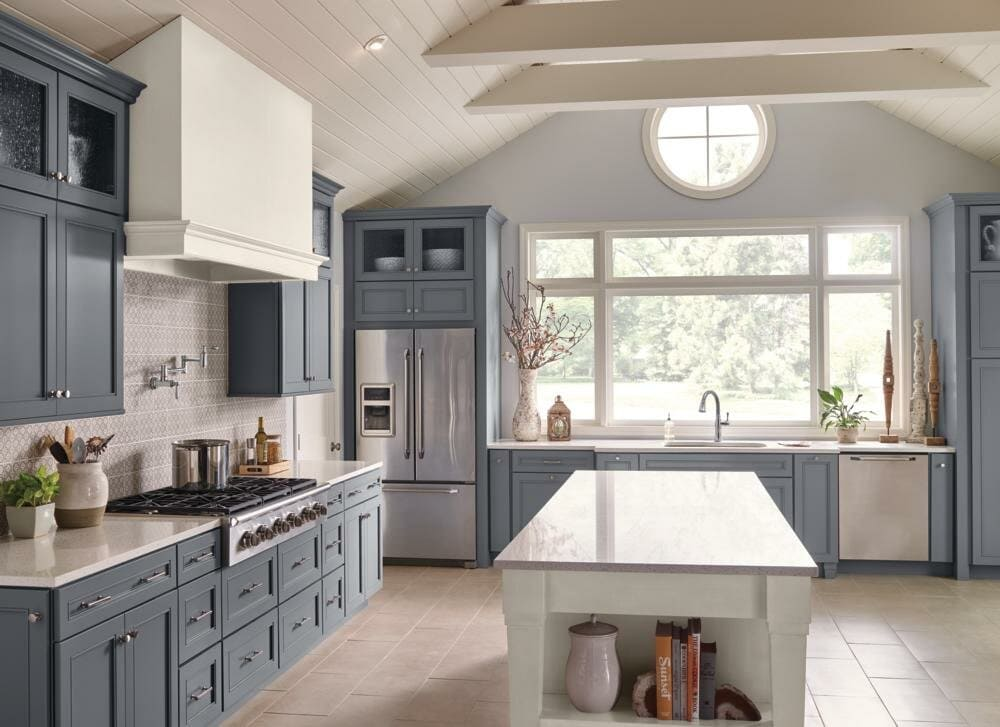 Grey Blue Traditional Kitchen