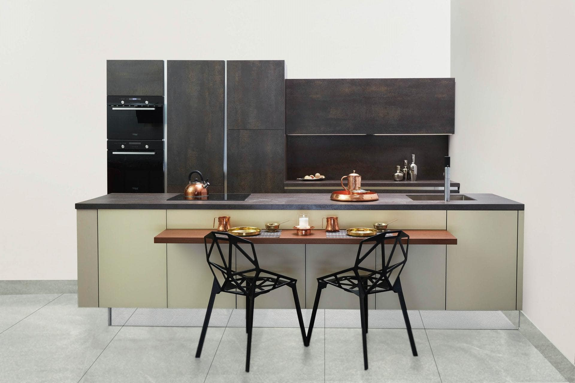 Contemporary Black and Sage Green