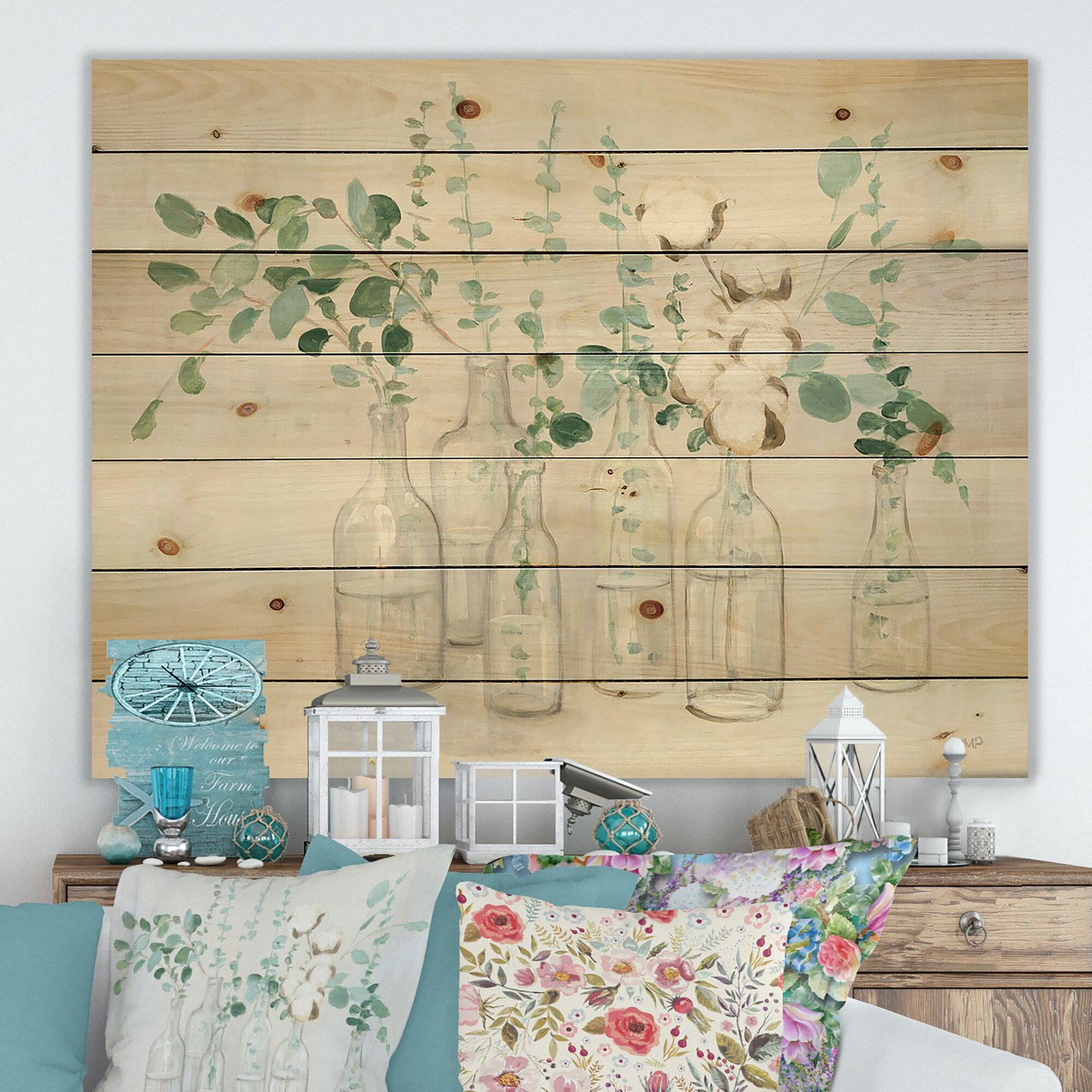 Cottage 'Beautiful Flower Composition' Print on Wood