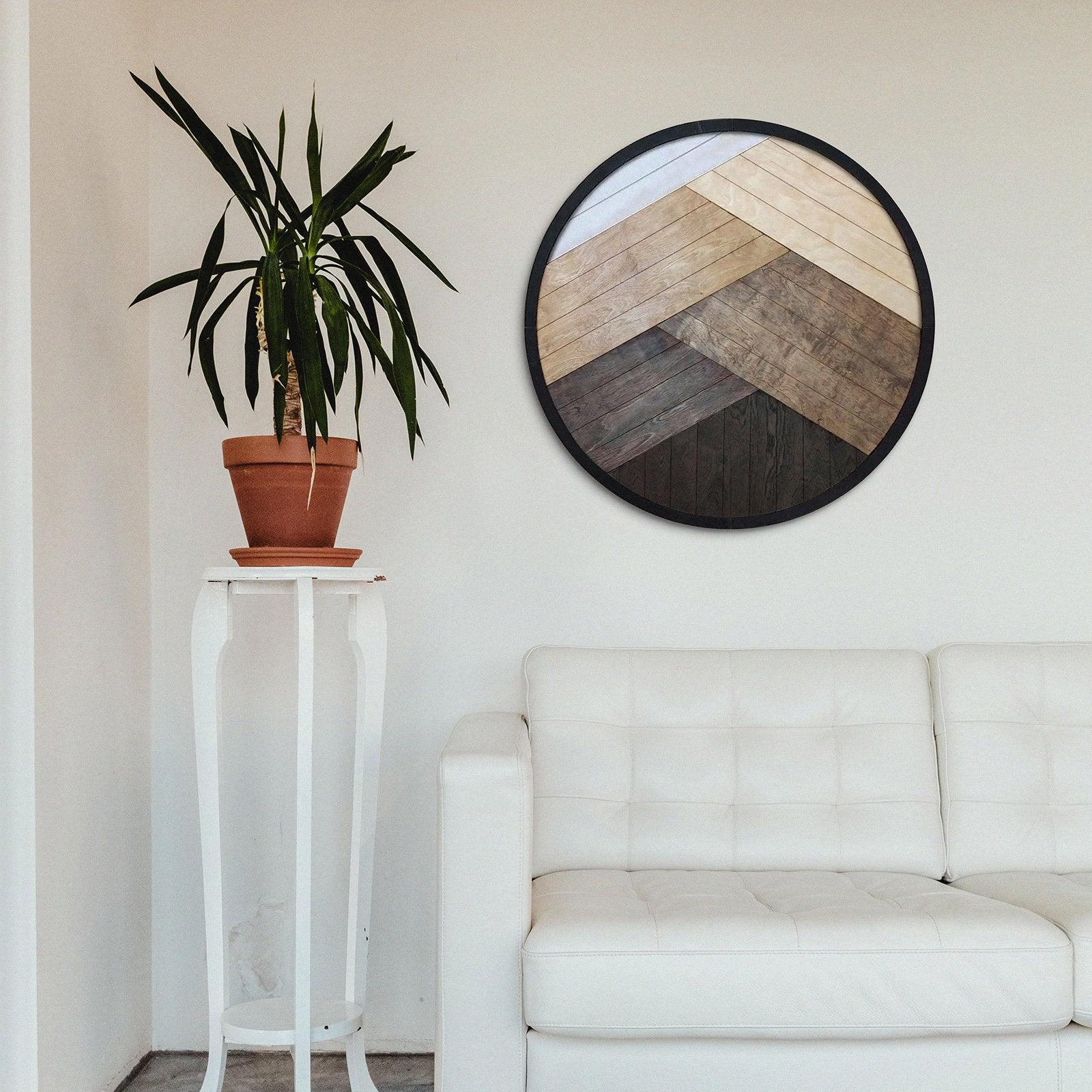 Large Round Geometric Natural Wood Wall Art