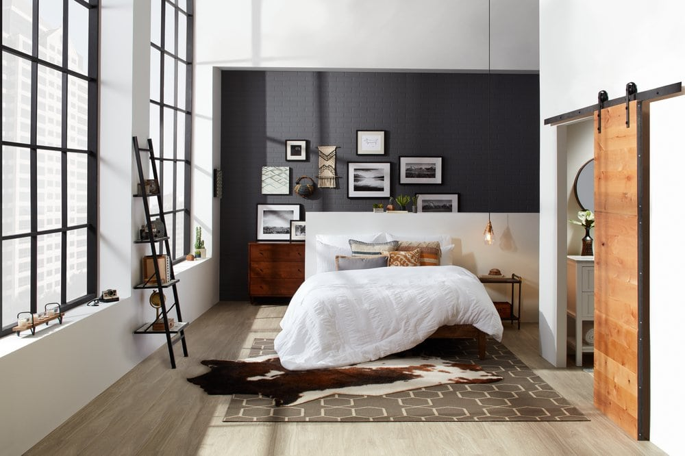 A Grey And White, Urban Industrial Bedroom