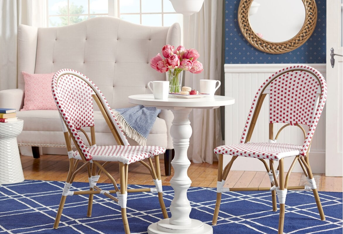 Red and White Wicker Bistro Chairs