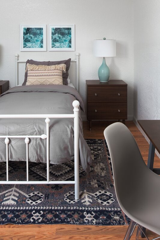 Grey, White, And Blue Bedroom