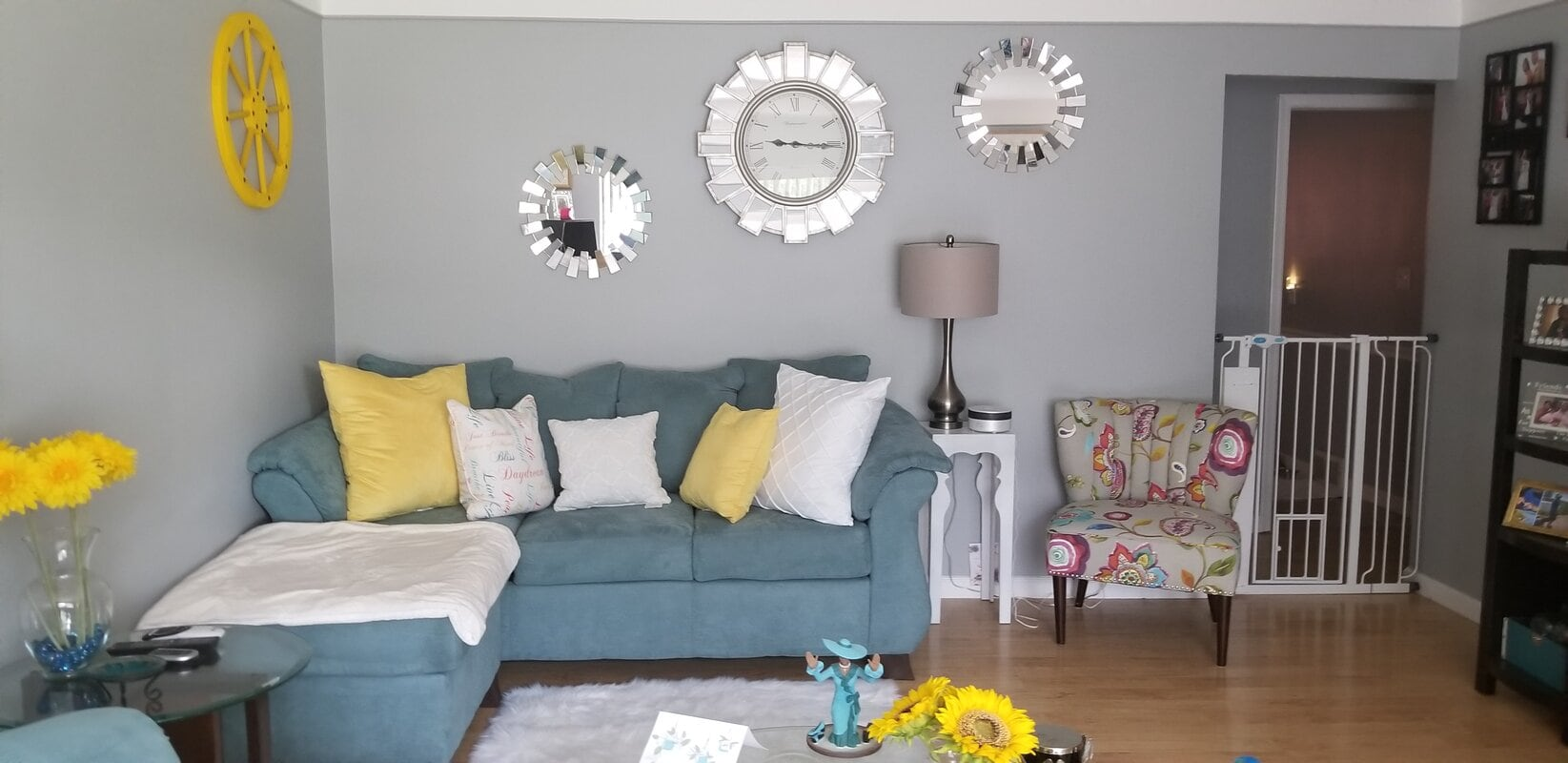Grey And Teal With Yellow Accents