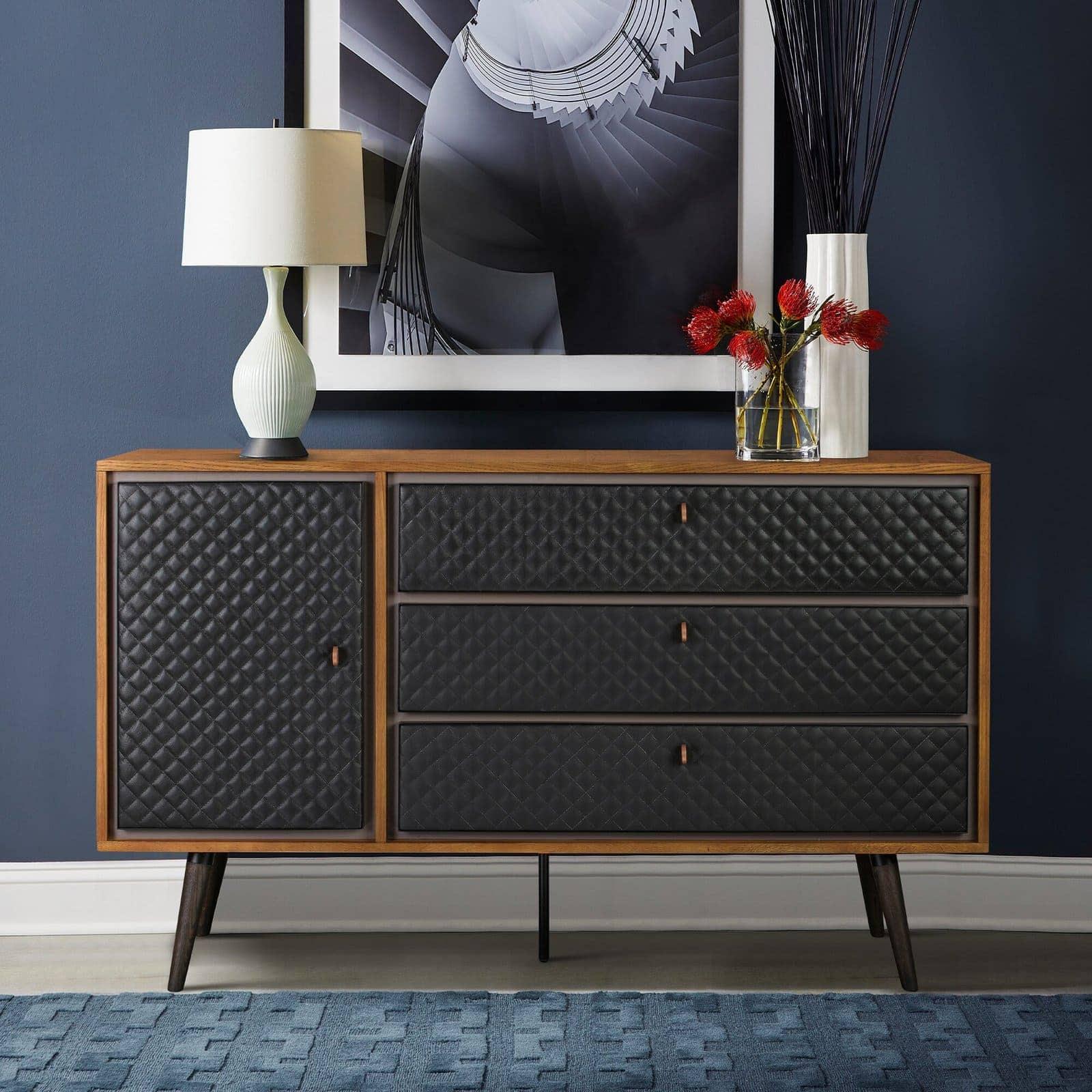 Lindel Coco Oak Wood and Leather Dresser