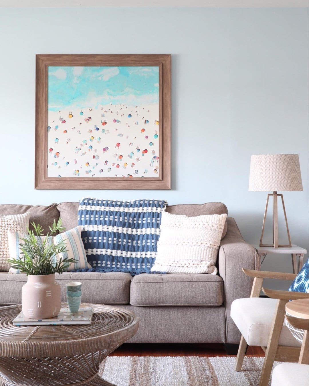 A Coastal, Teal And Grey Living Room