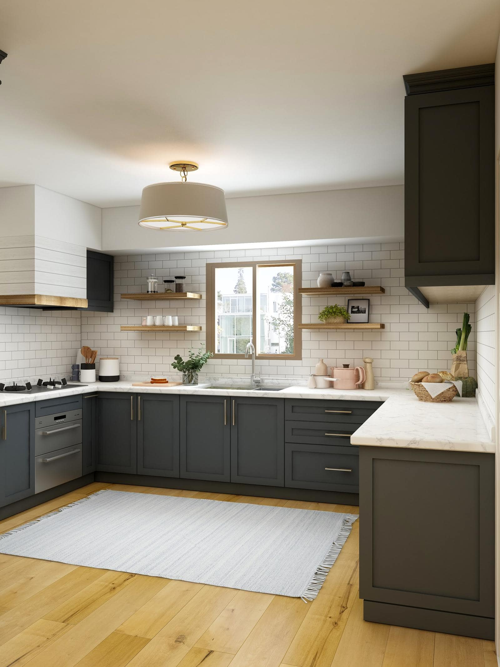 Dark Grey Cabinets With White Surfaces