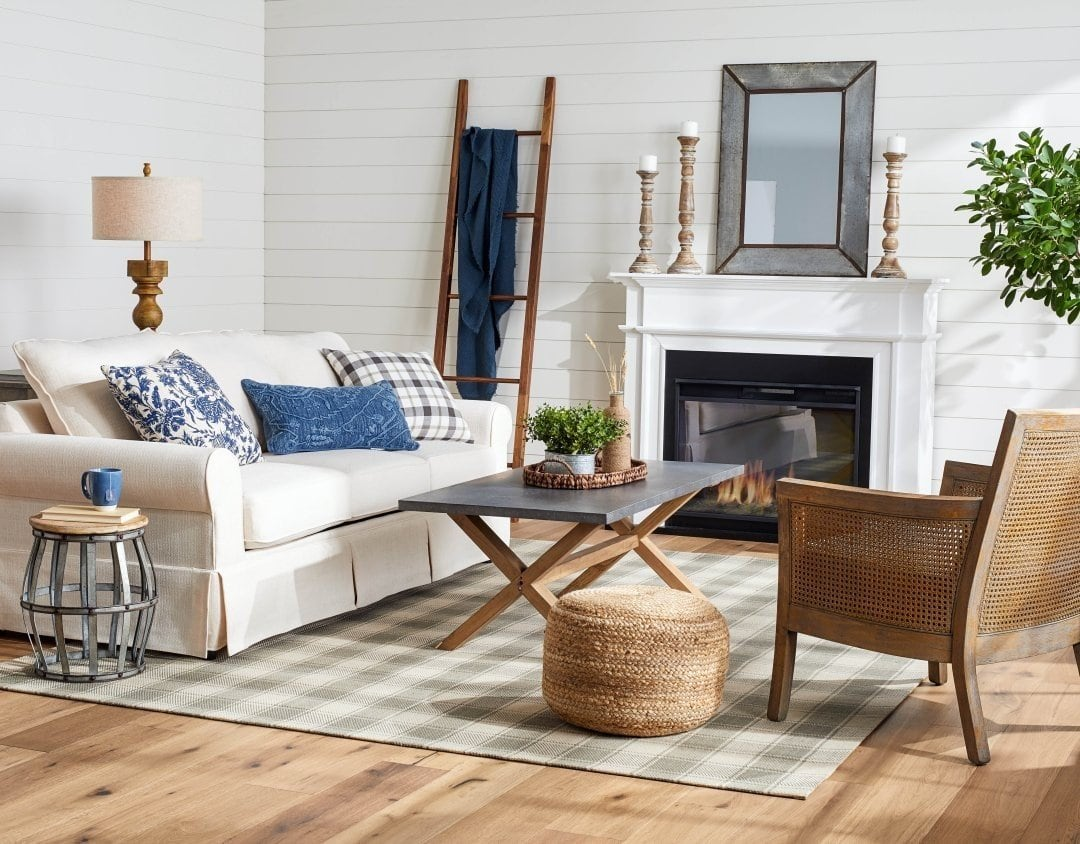Farmhouse Look With Blue And Grey
