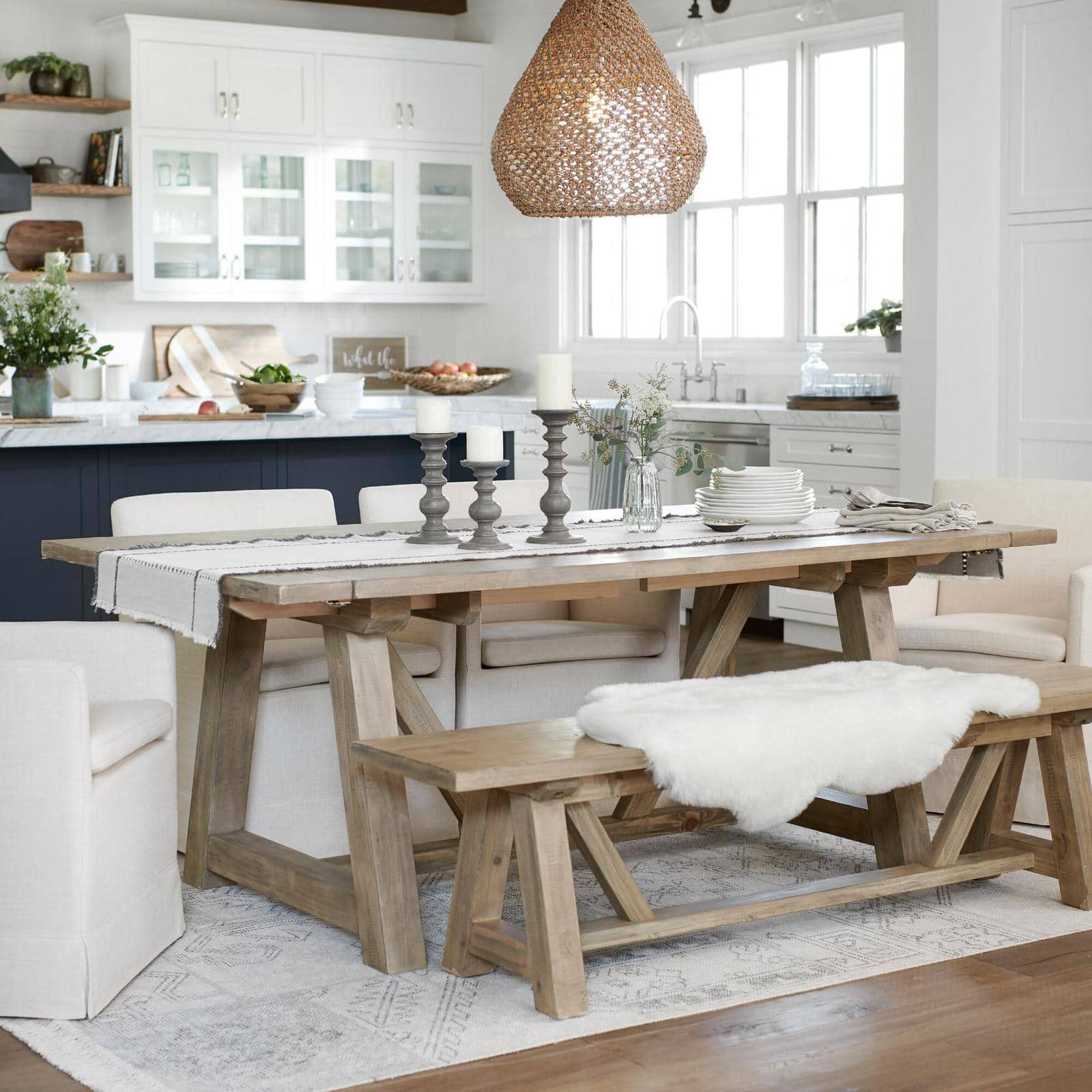Wood Farmhouse Leona Extension Dining Table