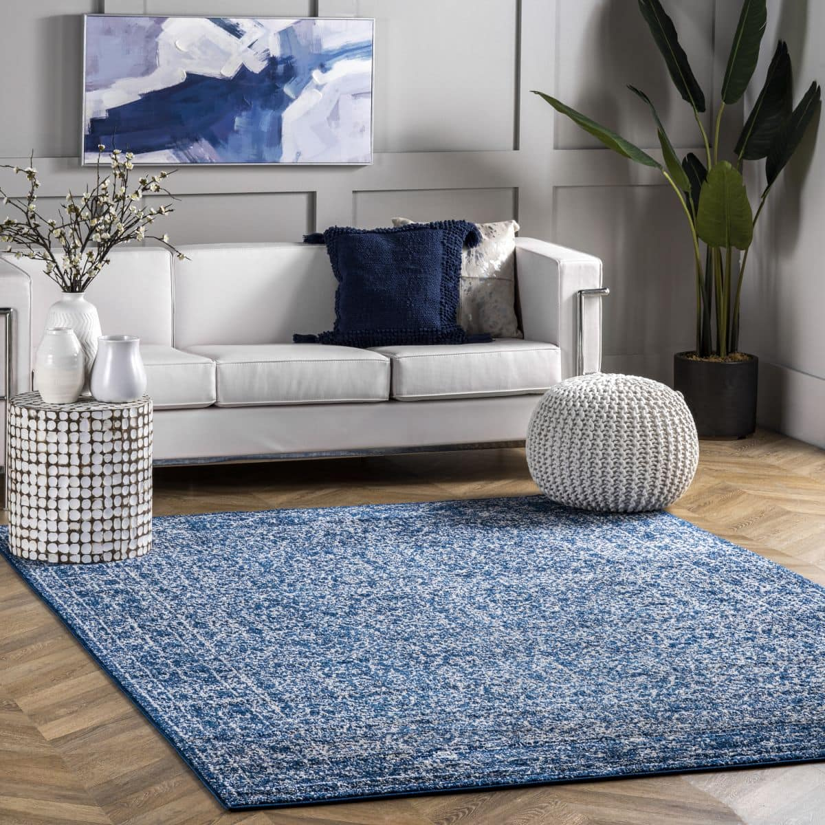 Navy Blue Medieval Tracery Area Rug