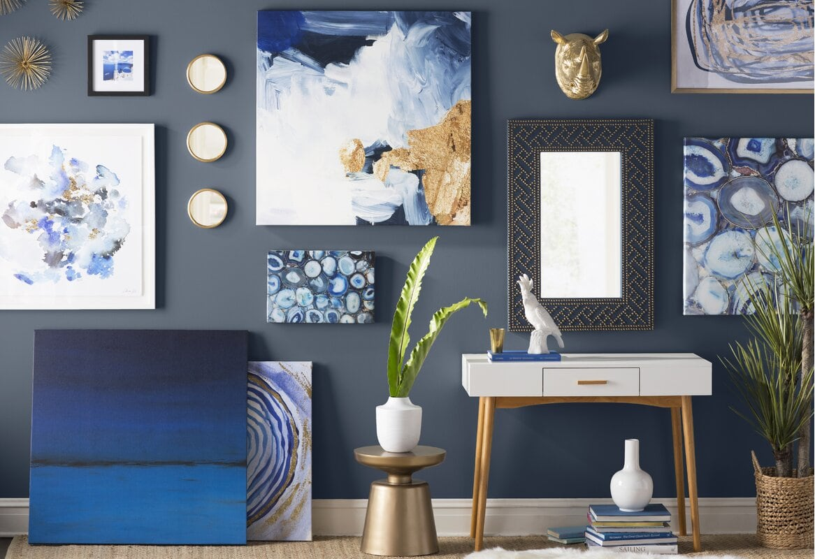 Blue, White and Gold Picture Wall