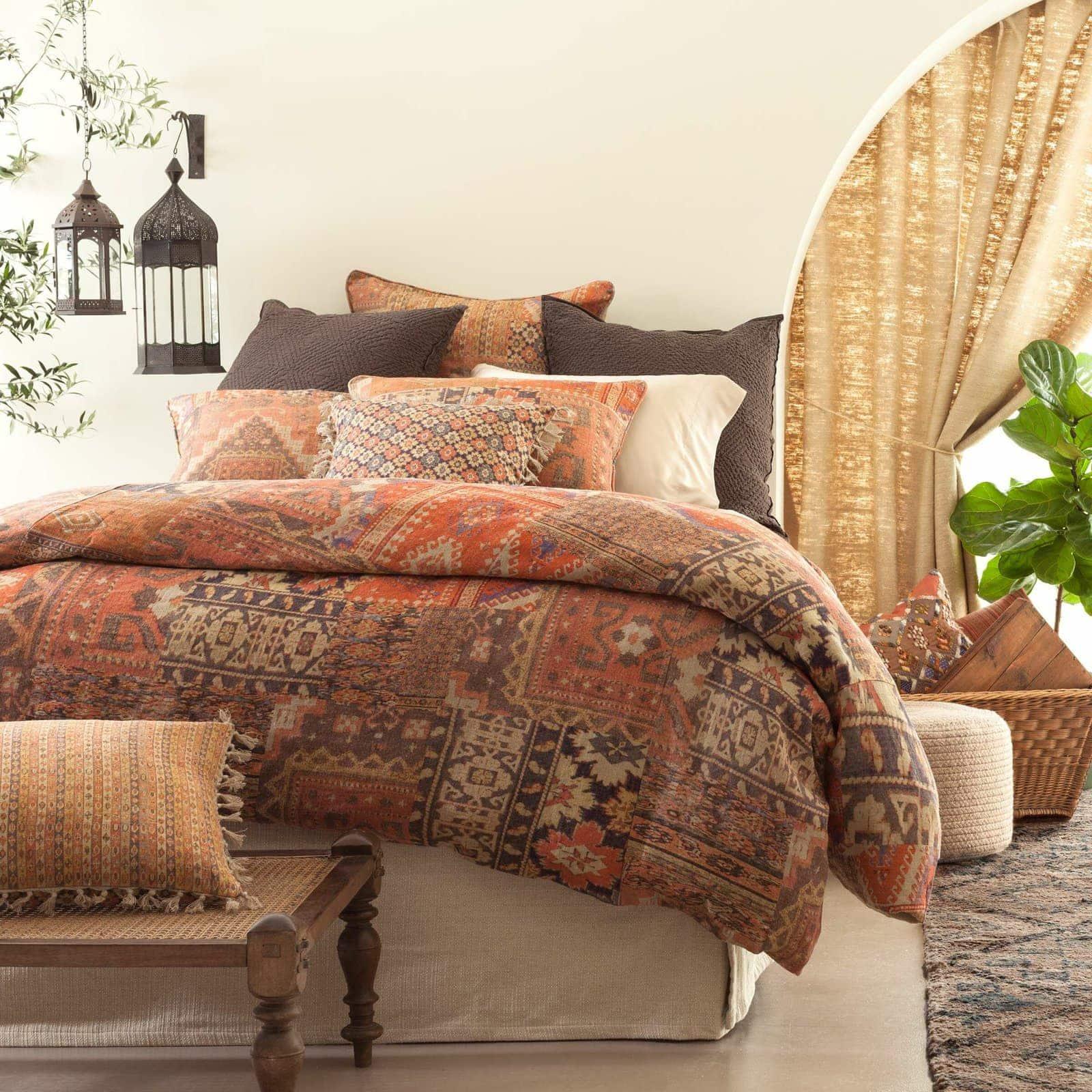Kilim Inspired Patchwork Linen Bedding