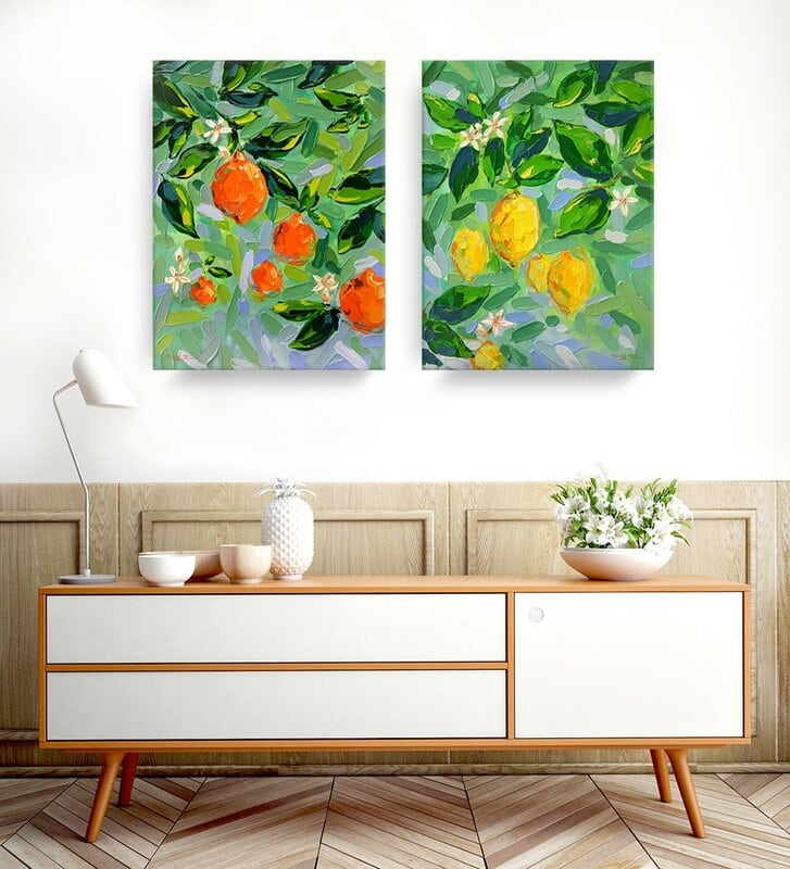 A Pair of Brightly Colored Canvas Paintings