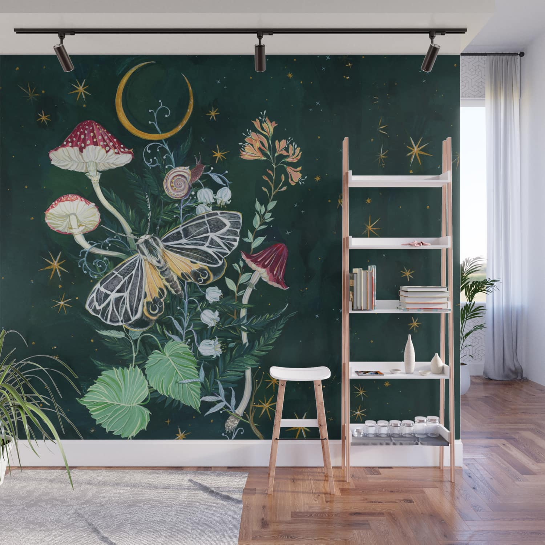 Mushroom Night Moth Wall Mural