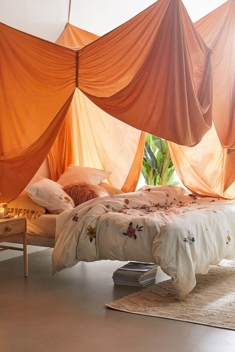 A Woven Textile Bed Canopy
