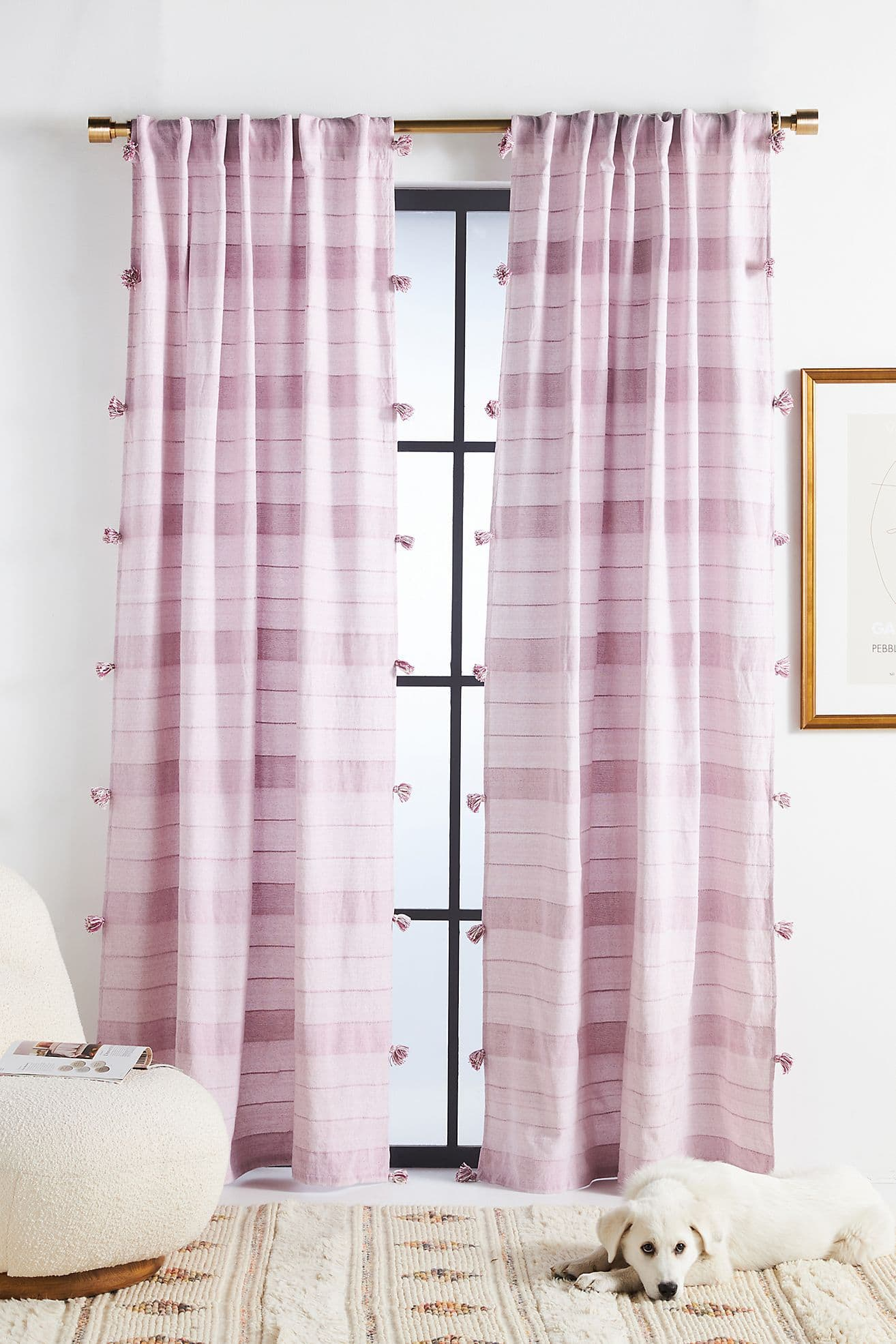 Woven Purple Indie Curtains
