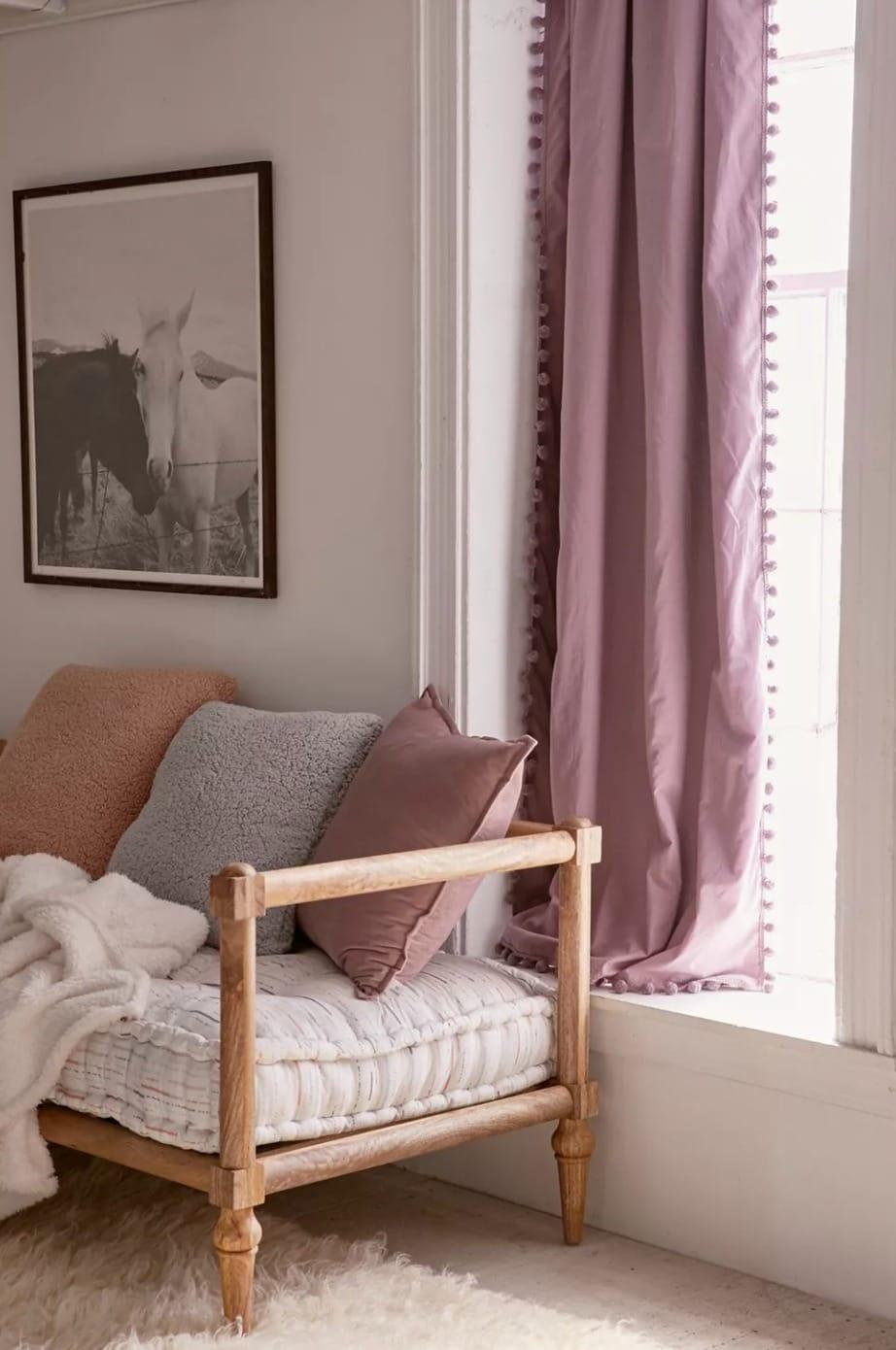 Blackout Pom Pom Curtain in Lavender