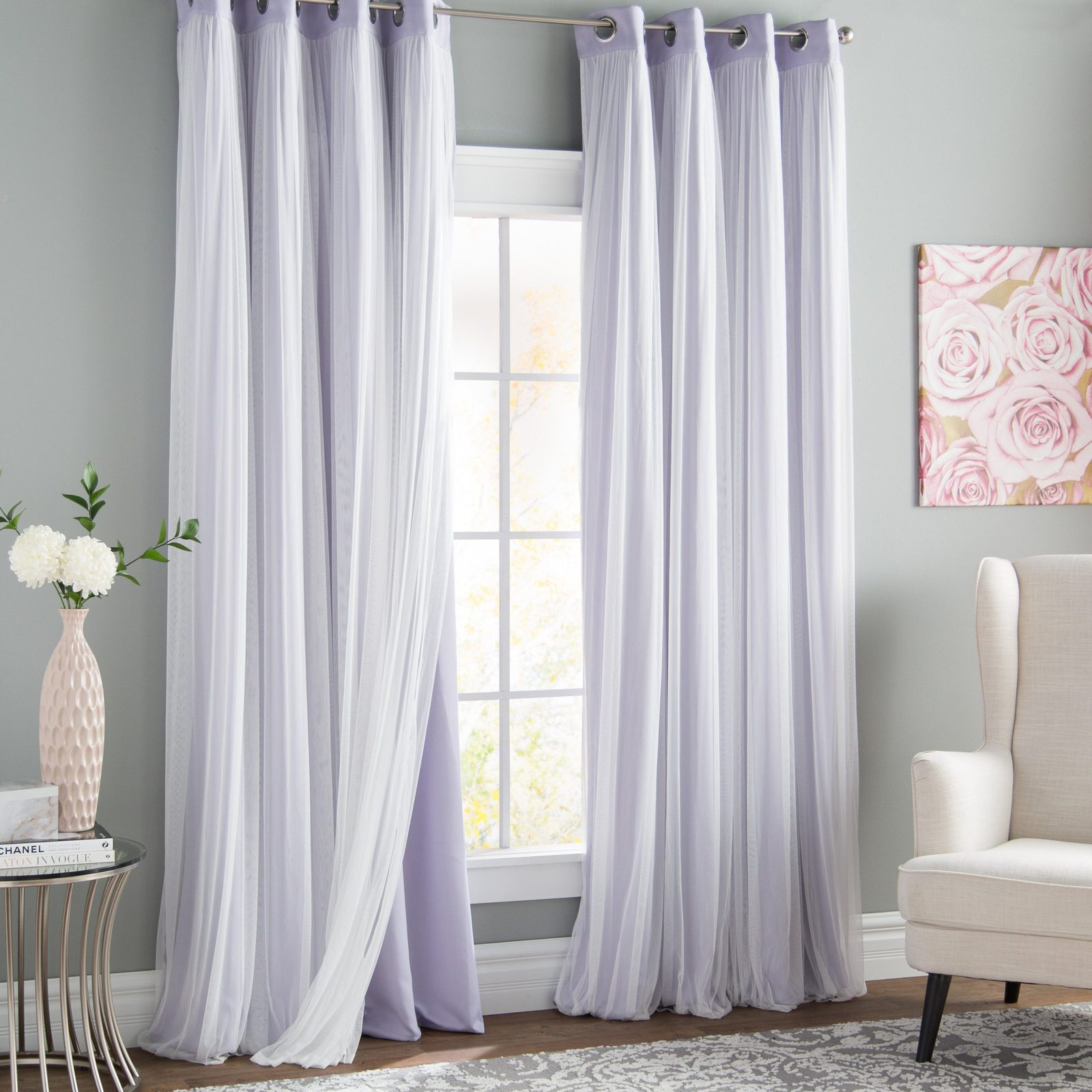 Tulle Overlay Lilac Curtains