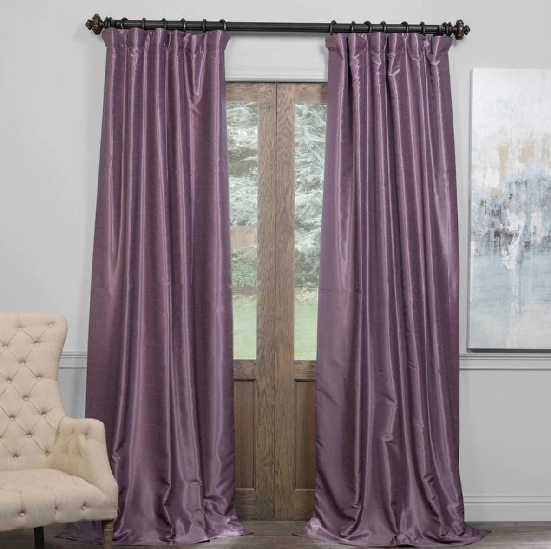 Smokey Plum Silk Blackout Curtains