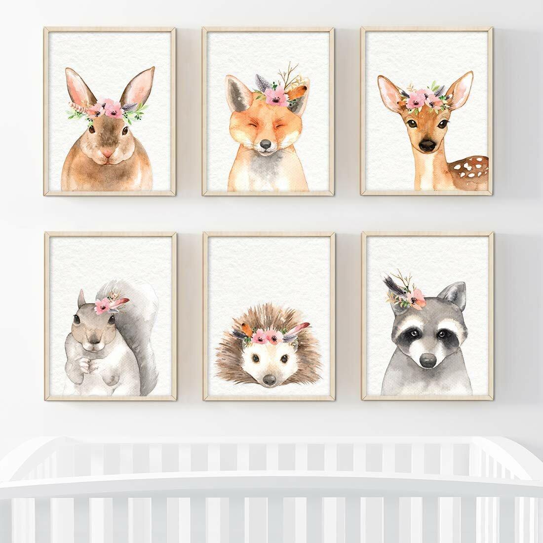6-Piece Set of Forest Animals Prints