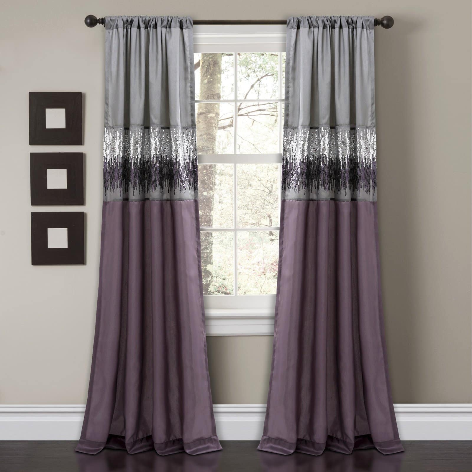Purple and Silver Curtains