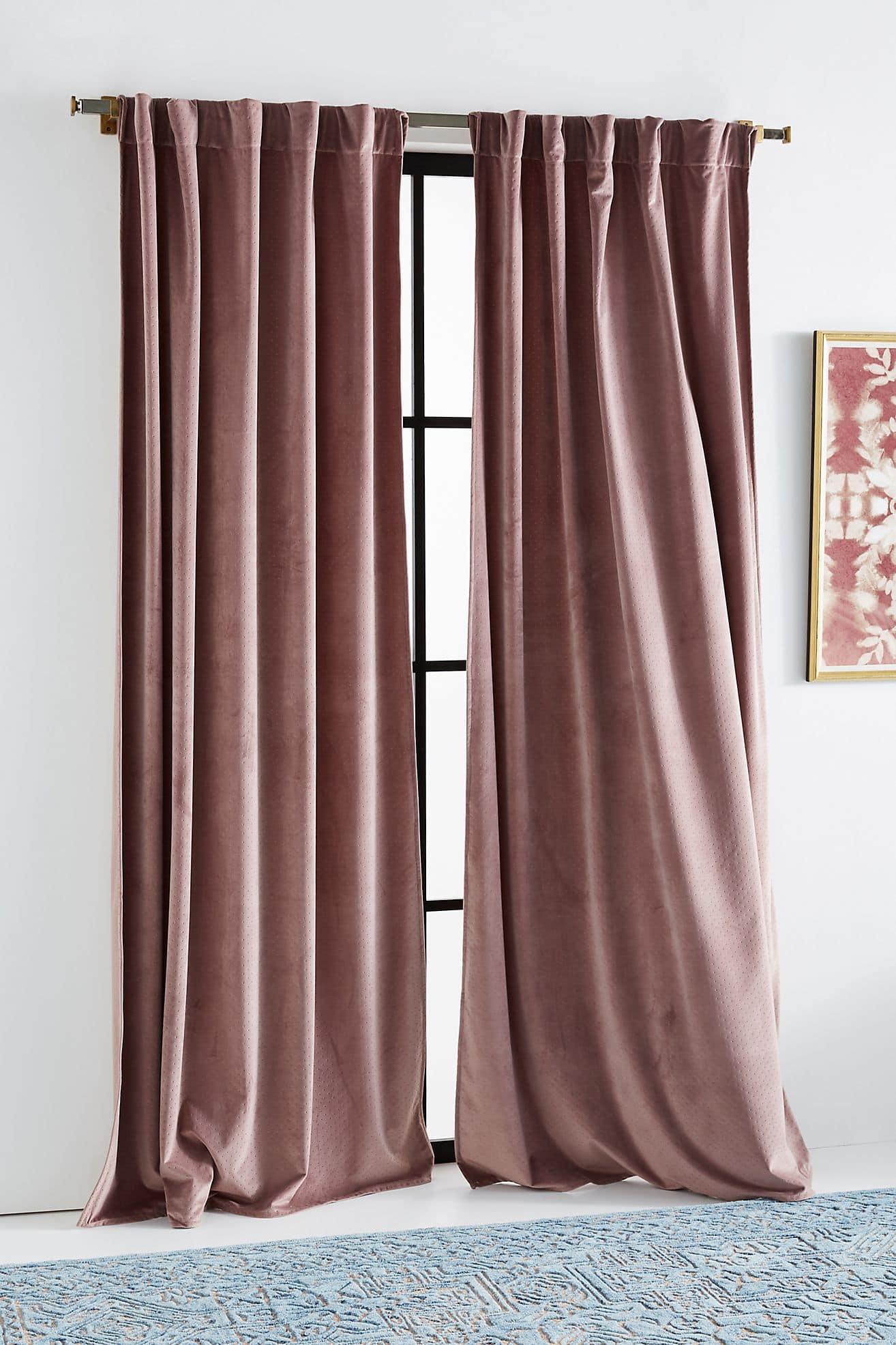 Mauve Velvet Louise Curtain