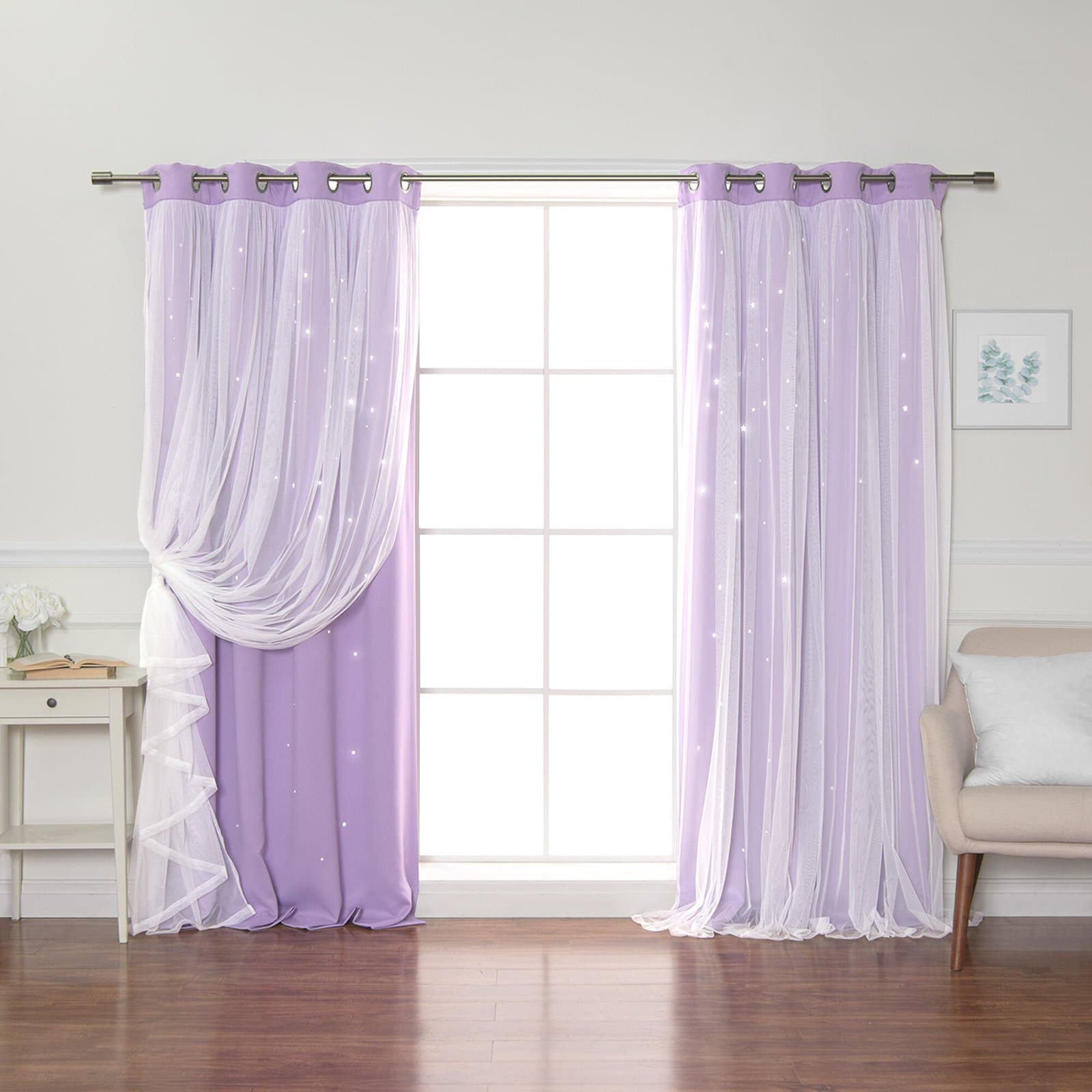 Tulle Overlay Star Cut-Out Curtains