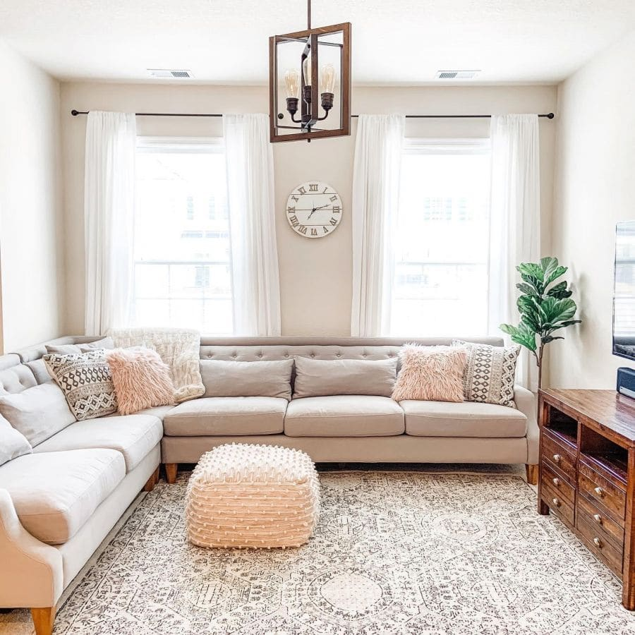 Align The Pattern on Your Rug With The Edge of Your Sofa