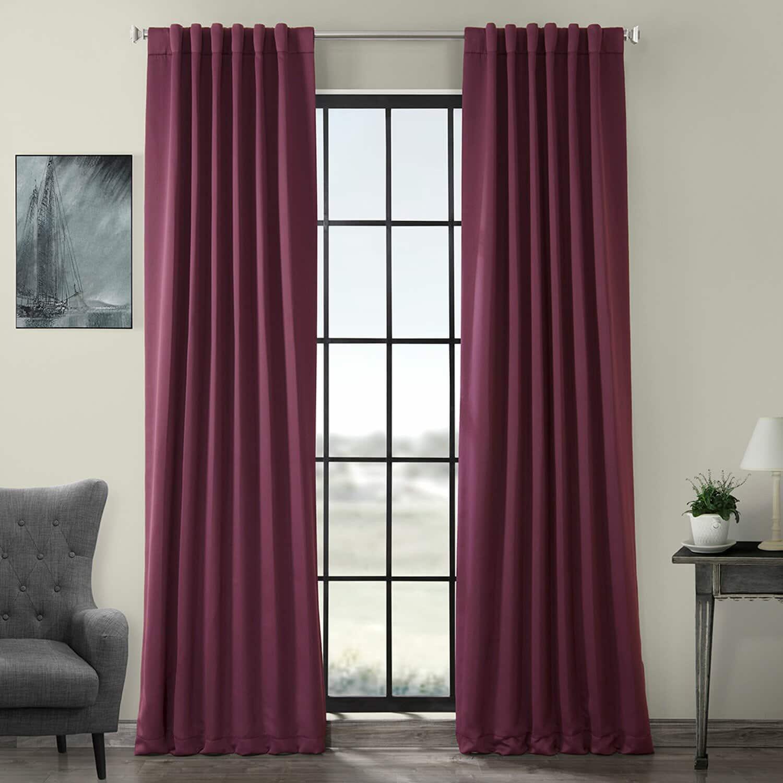 Solid Purple Room Darkening Bedroom Curtains