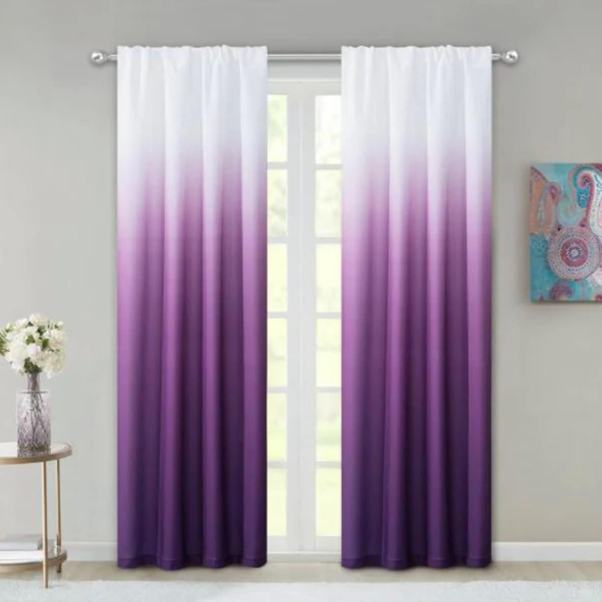 Purple and White Ombre Curtains
