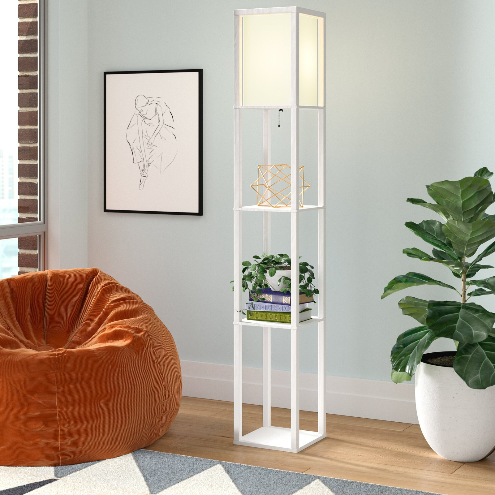 Choose a Floor Lamp With Built-in Shelving