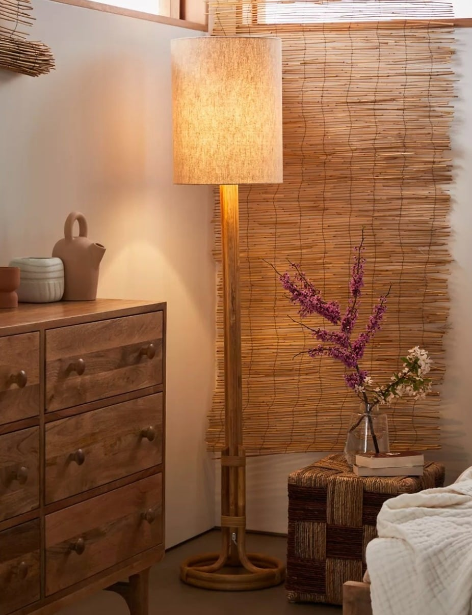 Add Some Boho Vibes With a Rattan Floor Lamp