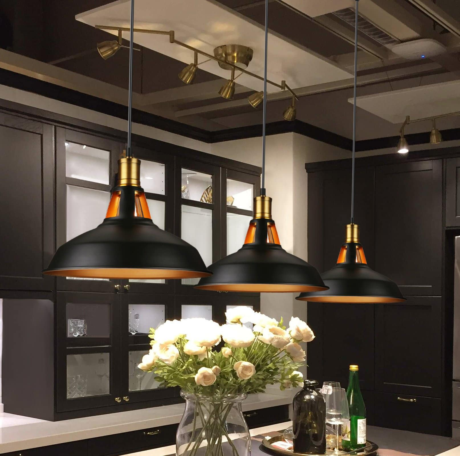 Factory Style Pendant Lights in a Basement Kitchen
