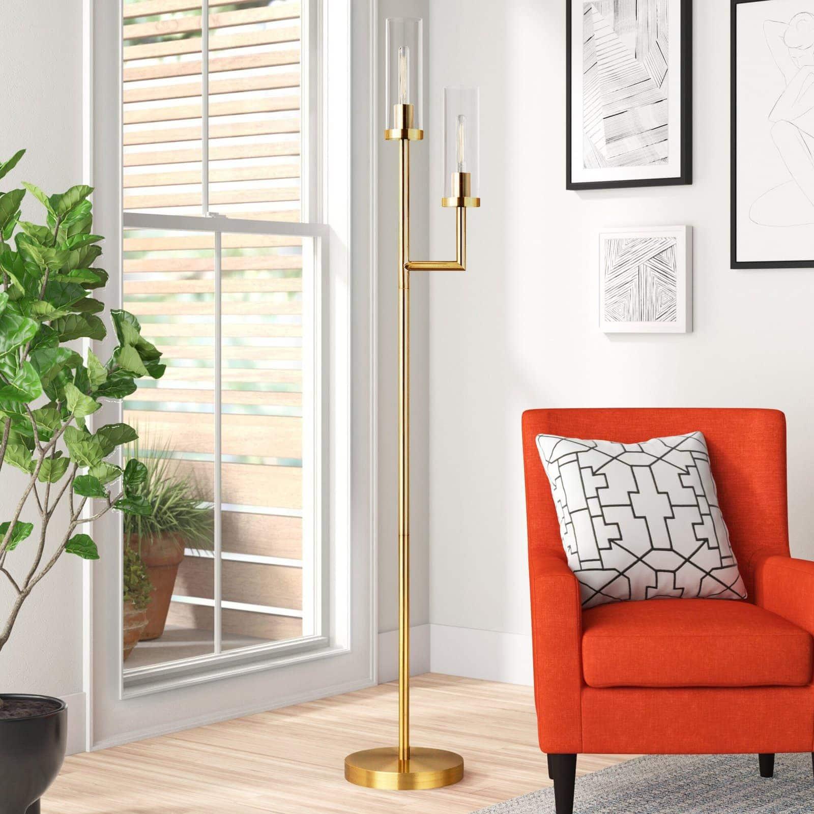 A Sleek Gold Floor Lamp