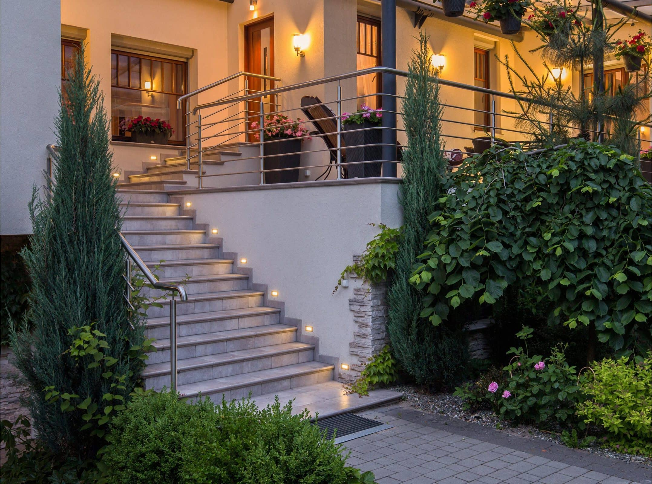 Install LED Stair Lights on The Walls Above Each Step